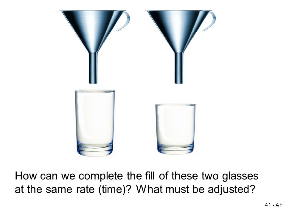 How can we complete the fill of these two glasses at the same rate (time) What must be adjusted