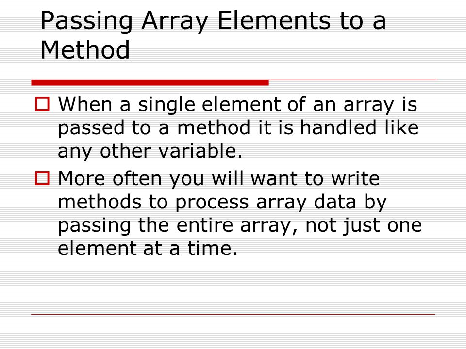 Passing Array Elements to a Method