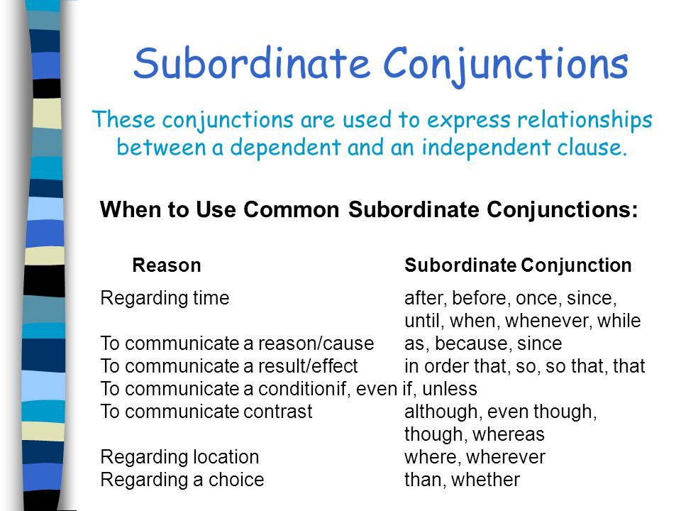 When to Use Common Subordinate Conjunctions: