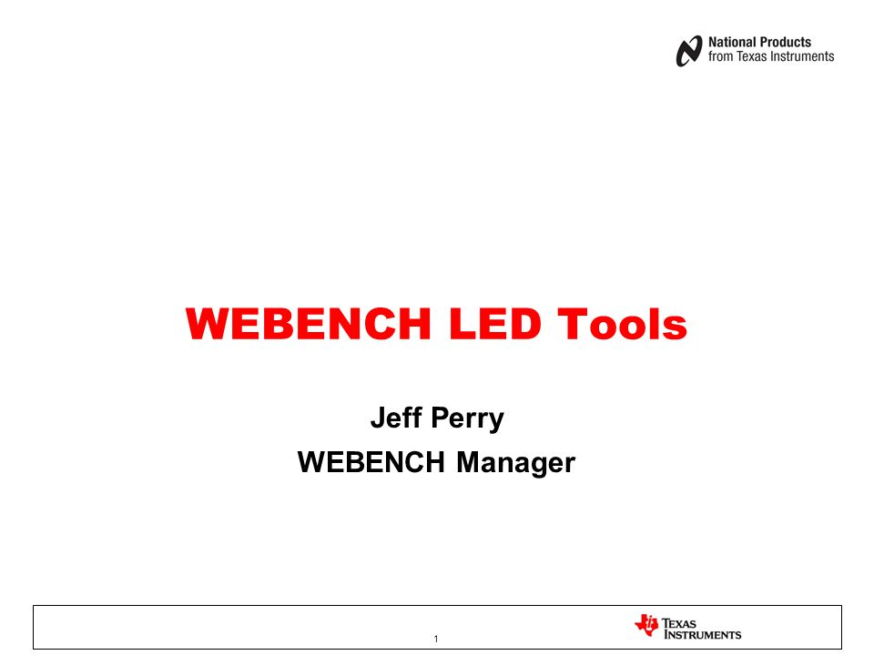 Jeff Perry WEBENCH Manager