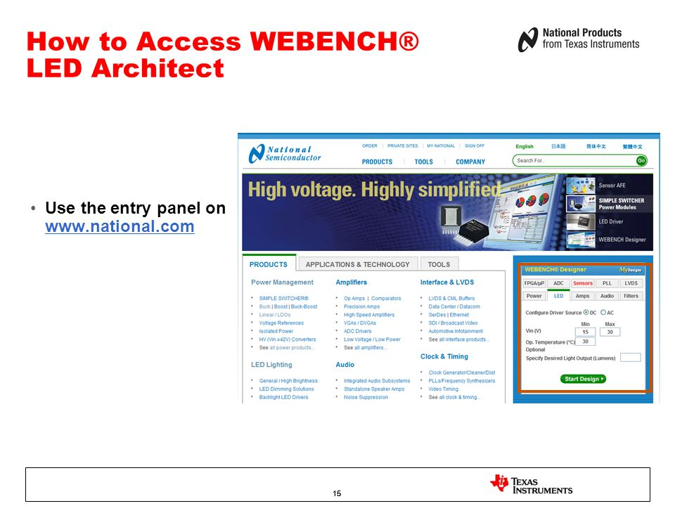 How to Access WEBENCH® LED Architect