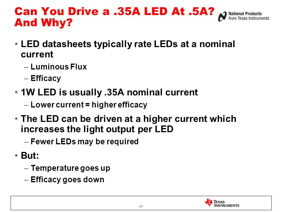 Can You Drive a .35A LED At .5A And Why
