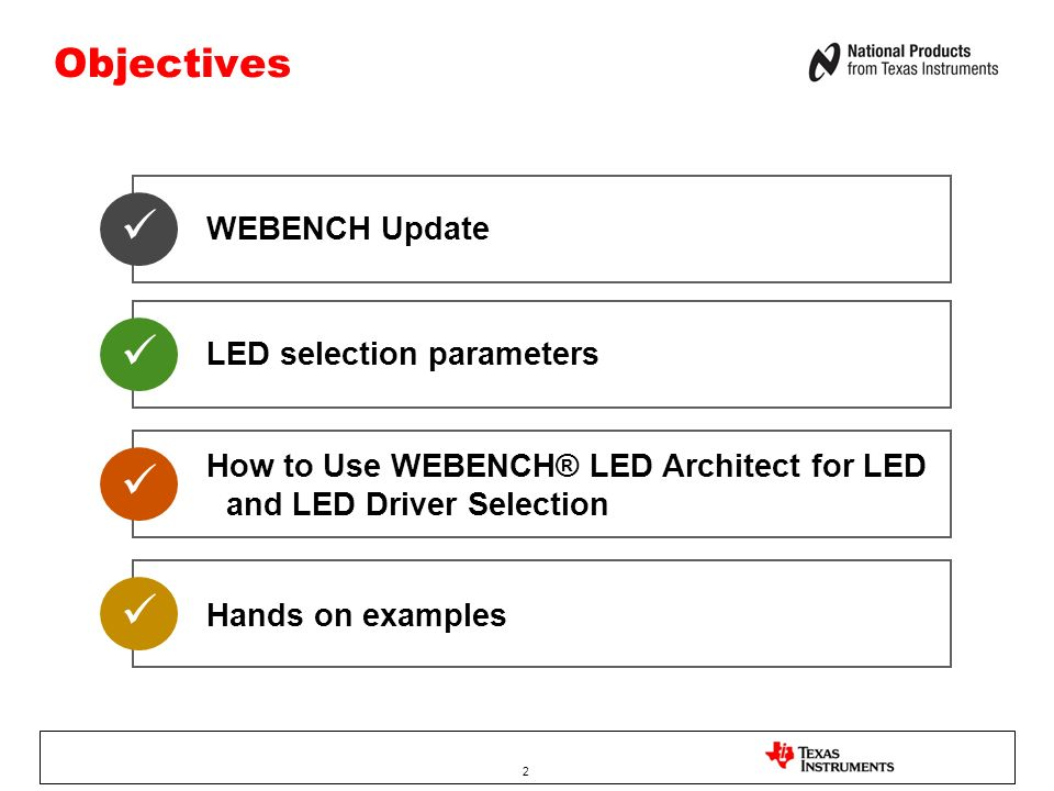     Objectives WEBENCH Update LED selection parameters