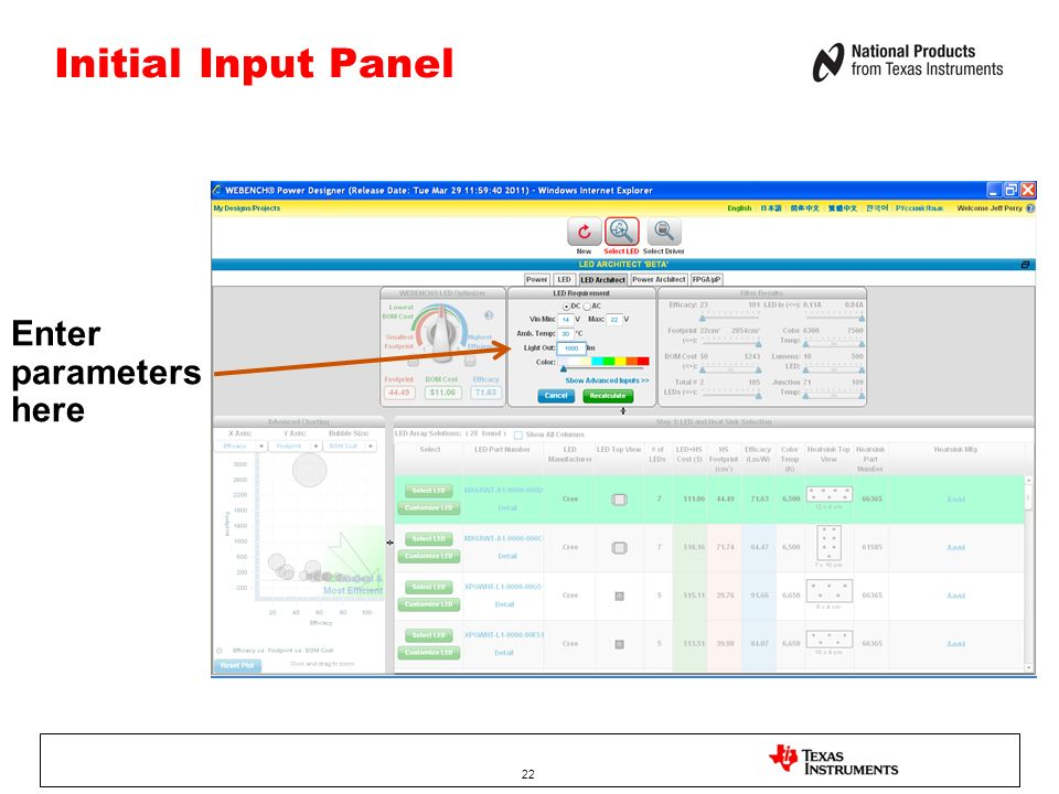 Initial Input Panel Enter parameters here