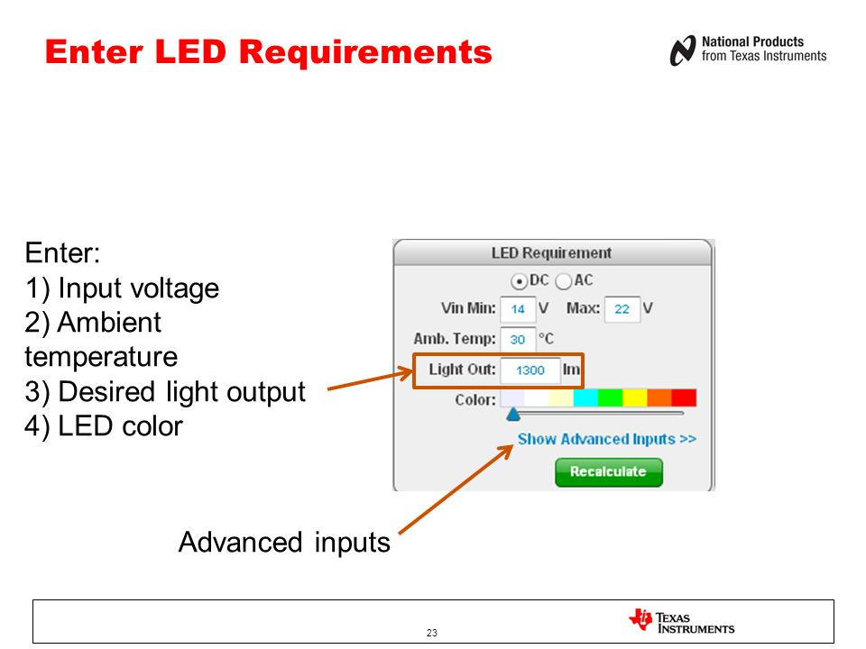 Enter LED Requirements