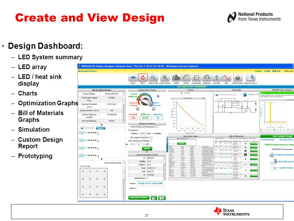 Create and View Design Design Dashboard: LED System summary LED array