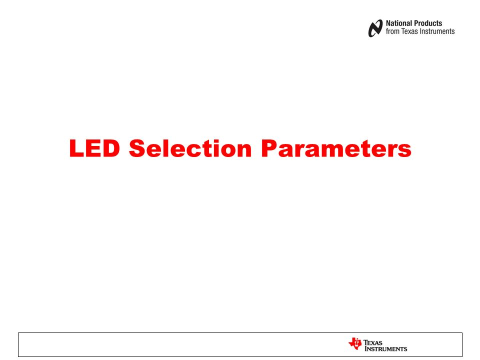 LED Selection Parameters