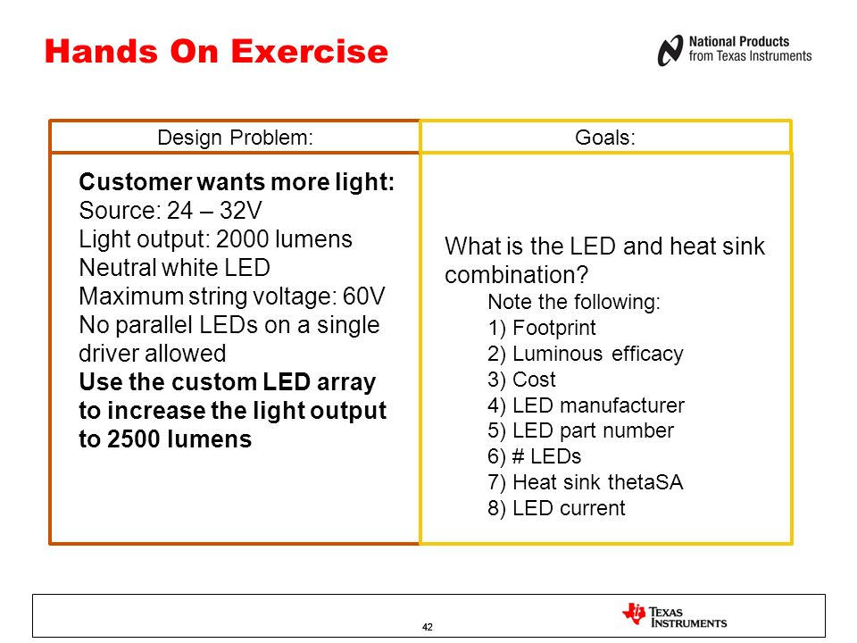 Hands On Exercise Customer wants more light: Source: 24 – 32V