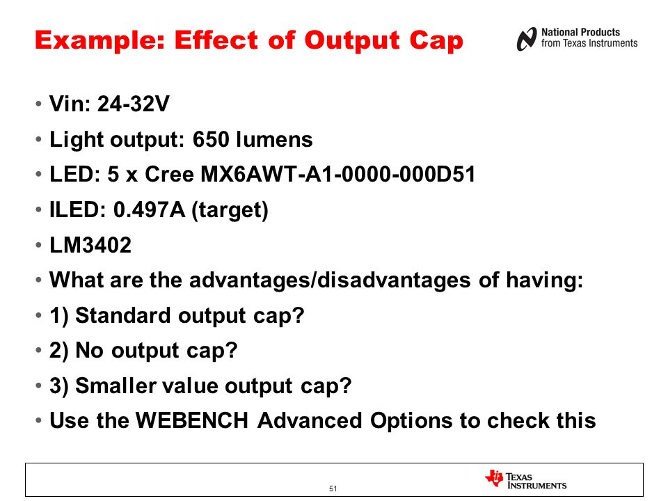 Example: Effect of Output Cap