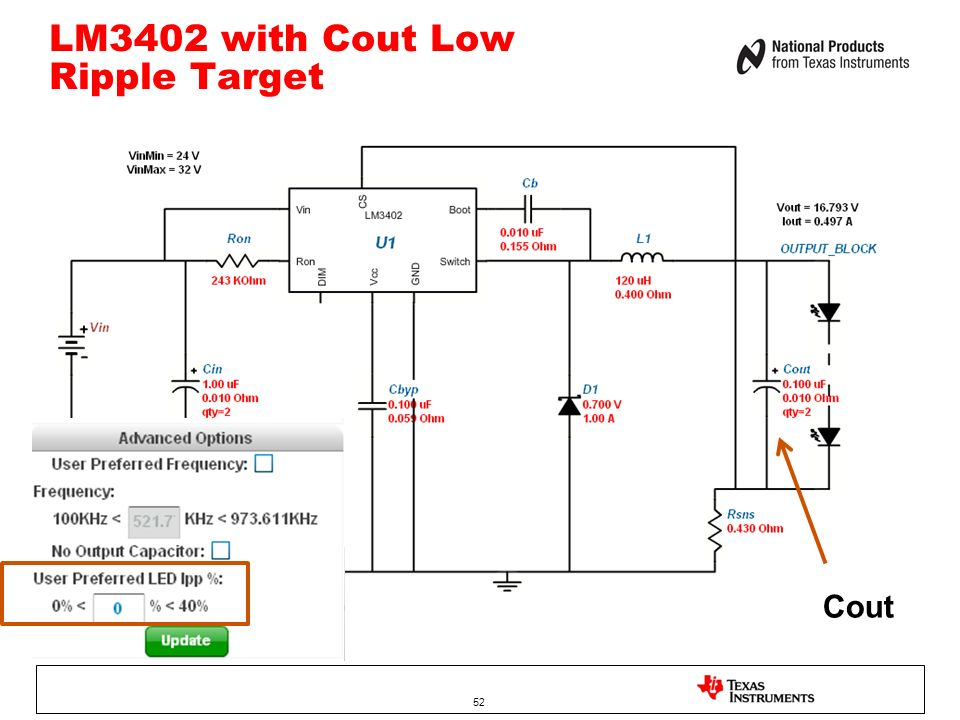 LM3402 with Cout Low Ripple Target