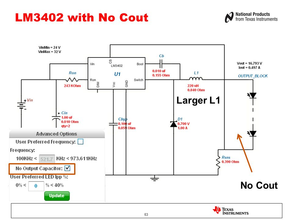 LM3402 with No Cout Larger L1 No Cout