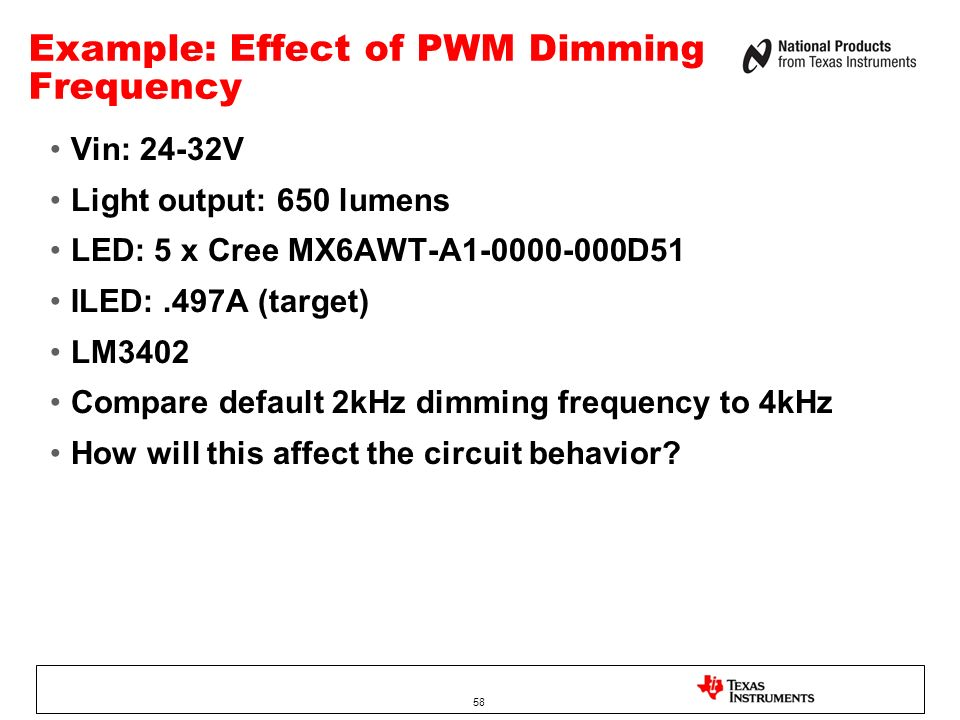 Example: Effect of PWM Dimming Frequency