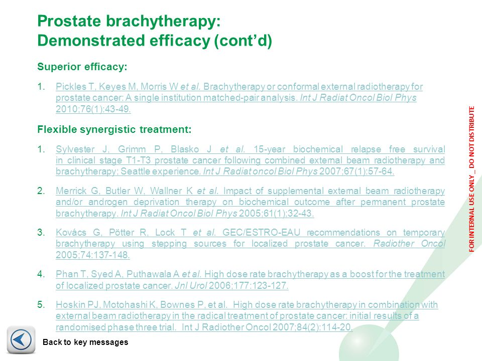 Prostate brachytherapy: Demonstrated efficacy (cont'd)