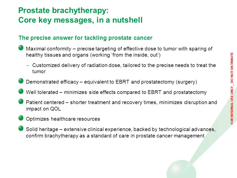 Prostate brachytherapy: Core key messages, in a nutshell