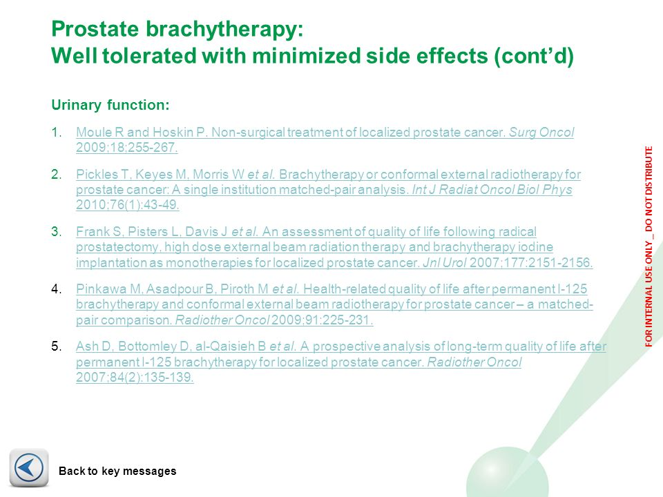 Prostate brachytherapy: Well tolerated with minimized side effects (cont'd)