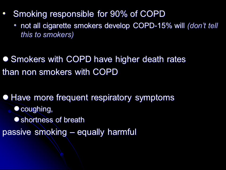 Smoking responsible for 90% of COPD