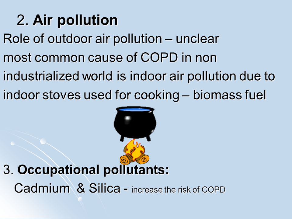 2. Air pollution Role of outdoor air pollution – unclear