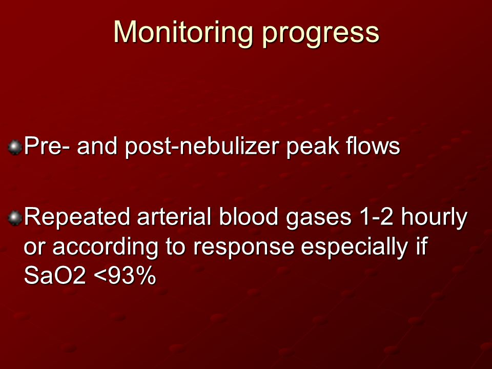 Monitoring progress Pre- and post-nebulizer peak flows