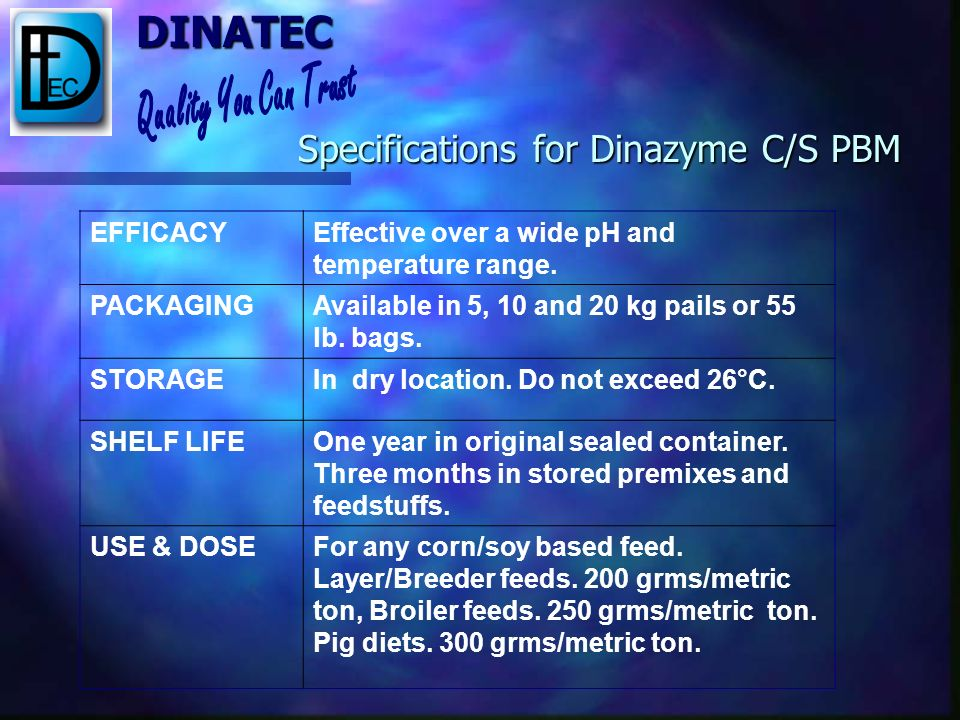 Specifications for Dinazyme C/S PBM