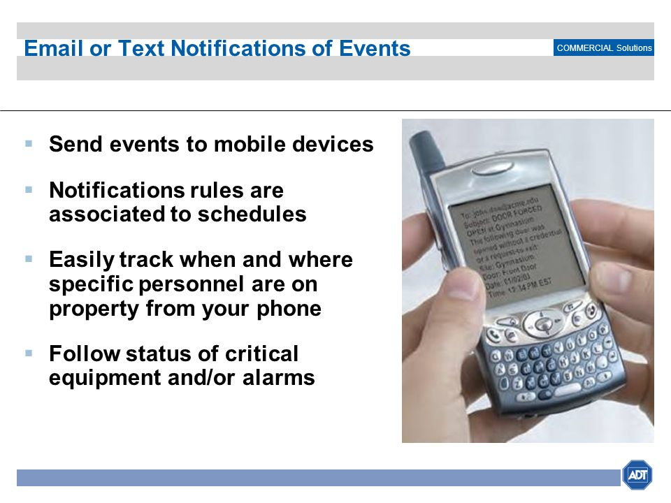 Email or Text Notifications of Events