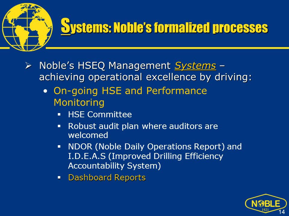 Systems: Noble's formalized processes
