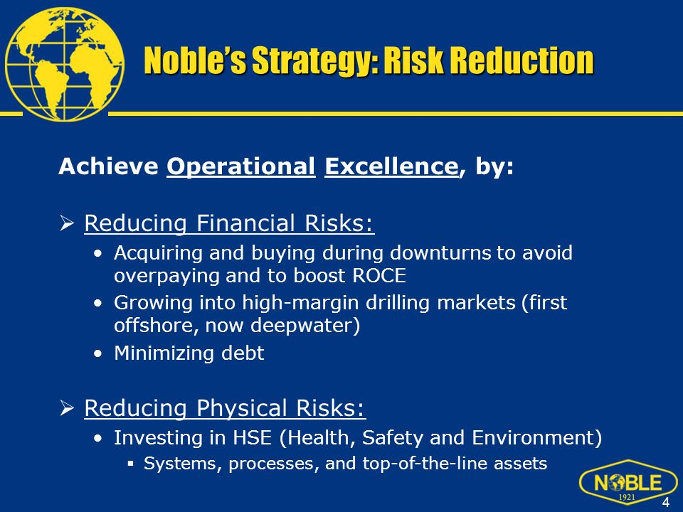 Noble's Strategy: Risk Reduction