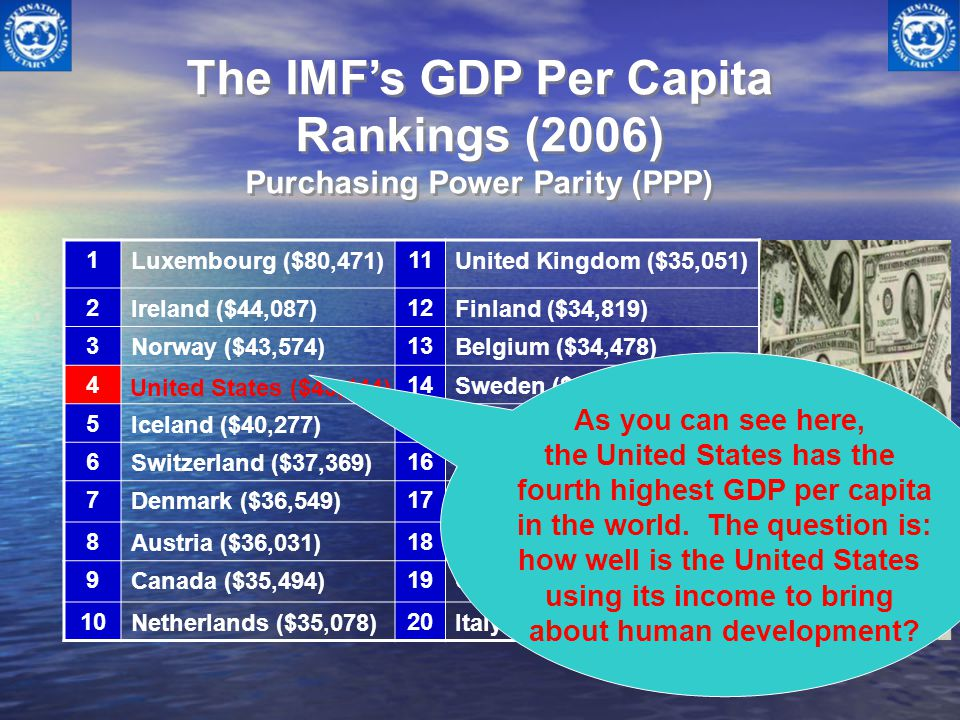 The IMF's GDP Per Capita Rankings (2006) Purchasing Power Parity (PPP)
