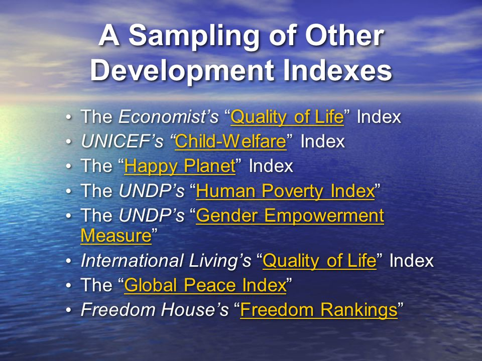 A Sampling of Other Development Indexes