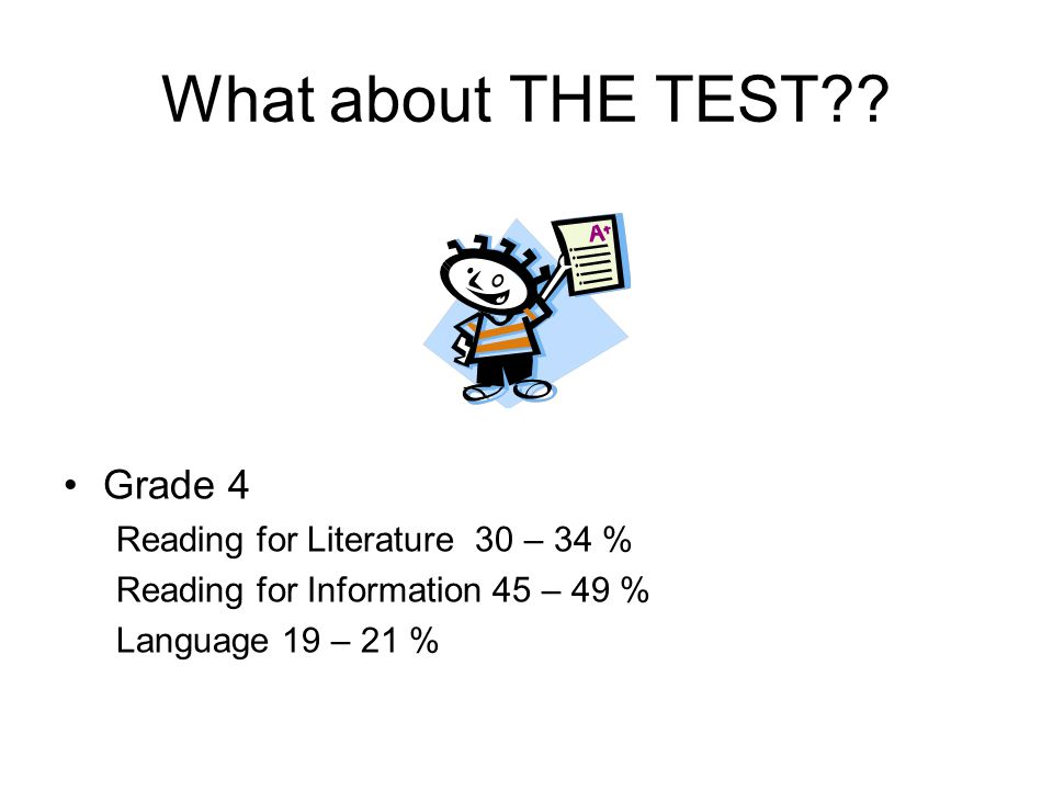 What about THE TEST Grade 4 Reading for Literature 30 – 34 %