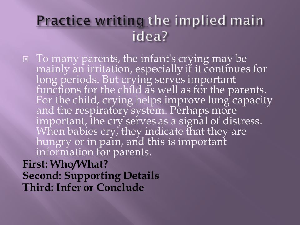 Practice writing the implied main idea