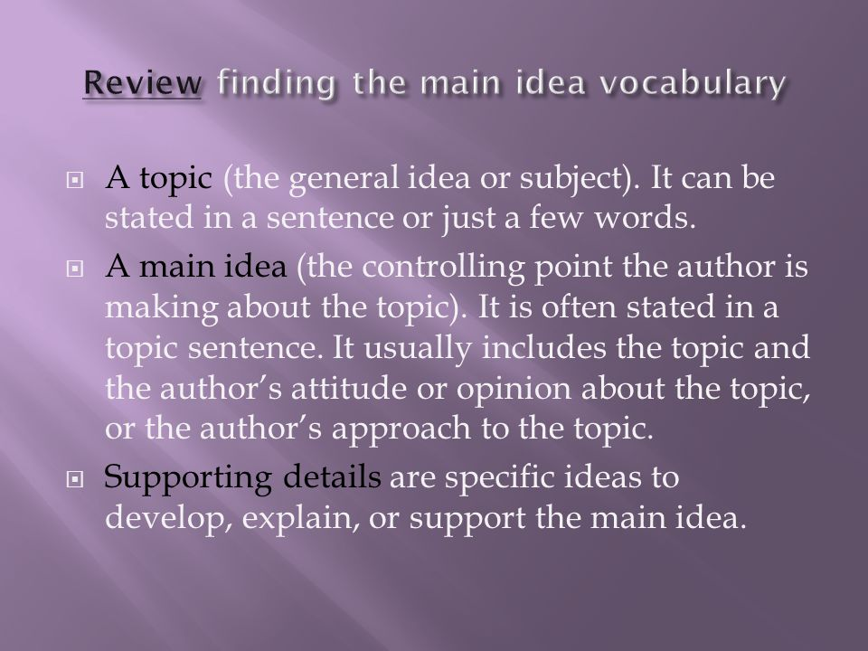 Review finding the main idea vocabulary