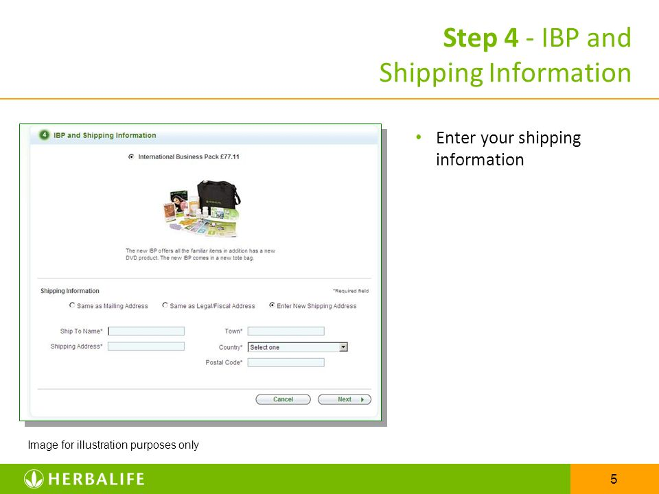 Step 4 - IBP and Shipping Information