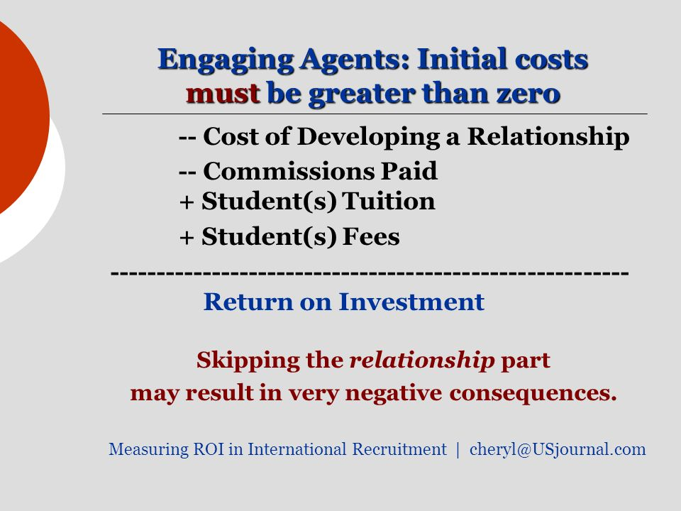 Engaging Agents: Initial costs must be greater than zero