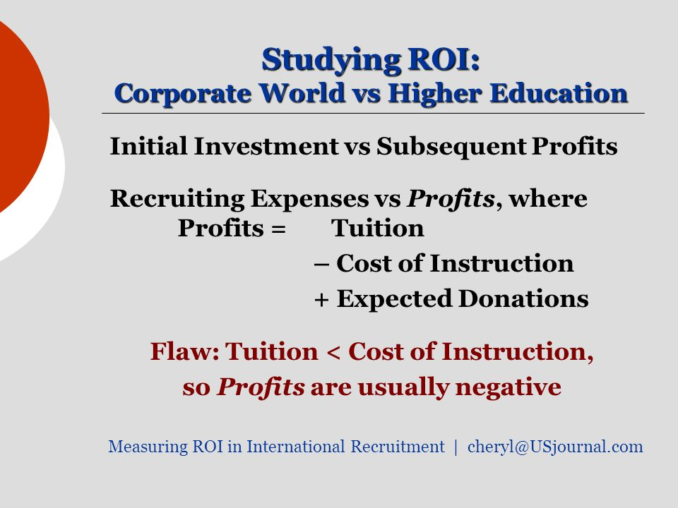 Studying ROI: Corporate World vs Higher Education