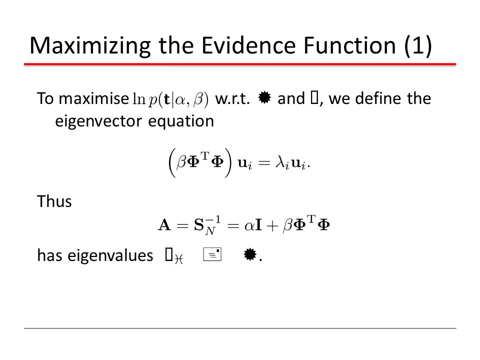 Maximizing the Evidence Function (1)