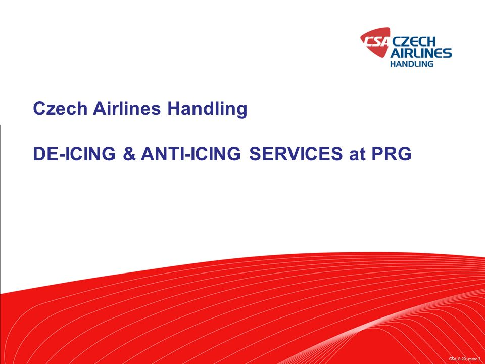 Czech Airlines Handling DE-ICING & ANTI-ICING SERVICES at PRG