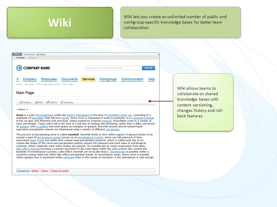 Wiki Wiki lets you create an unlimited number of public and workgroup-specific knowledge bases for better team collaboration.