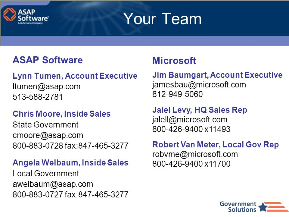 Your Team ASAP Software Microsoft Lynn Tumen, Account Executive