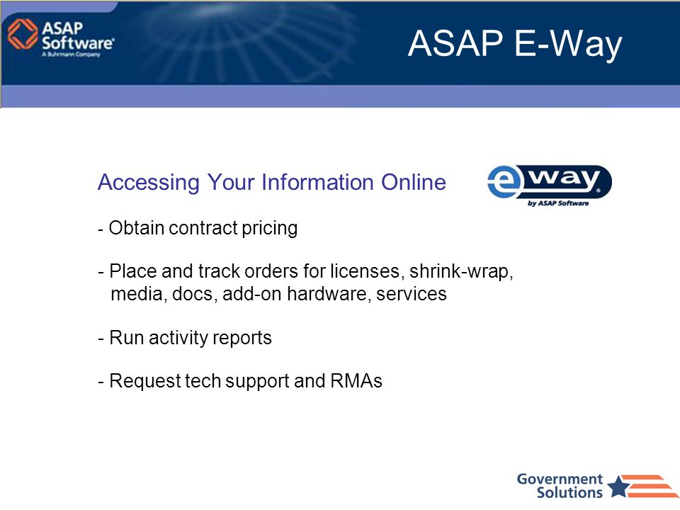 ASAP E-Way Accessing Your Information Online