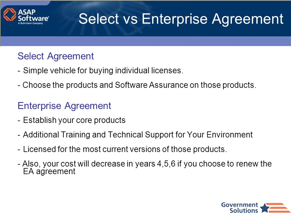 Select vs Enterprise Agreement