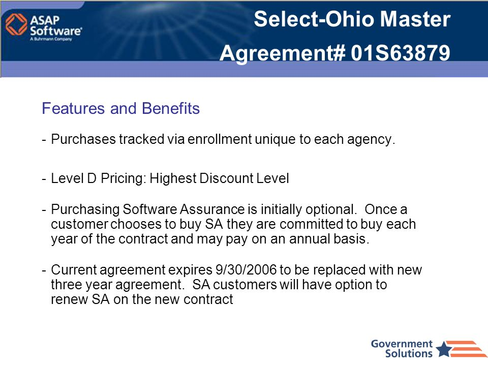 Select-Ohio Master Agreement# 01S63879
