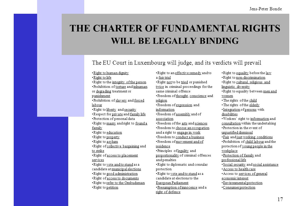 THE CHARTER OF FUNDAMENTAL RIGHTS WILL BE LEGALLY BINDING
