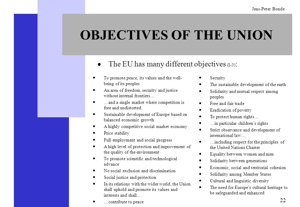 OBJECTIVES OF THE UNION