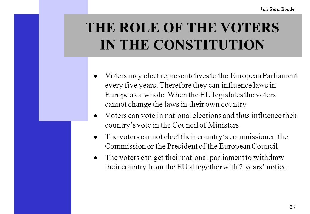 THE ROLE OF THE VOTERS IN THE CONSTITUTION