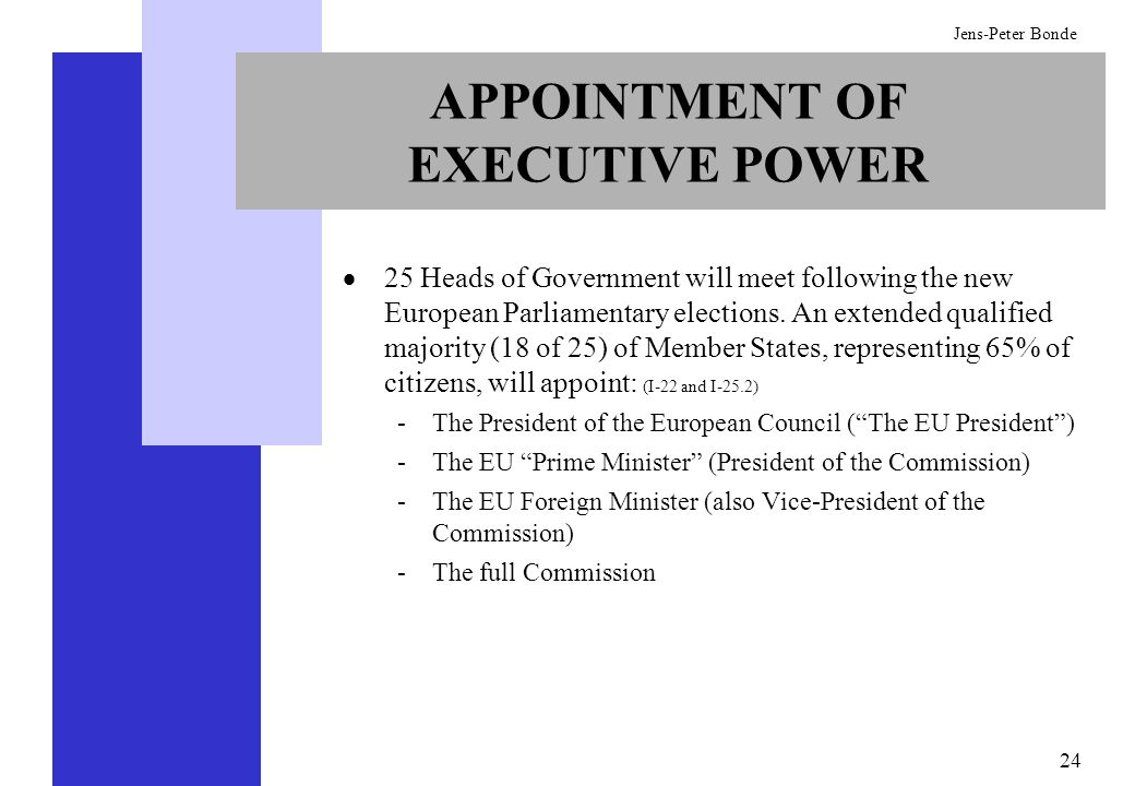 APPOINTMENT OF EXECUTIVE POWER