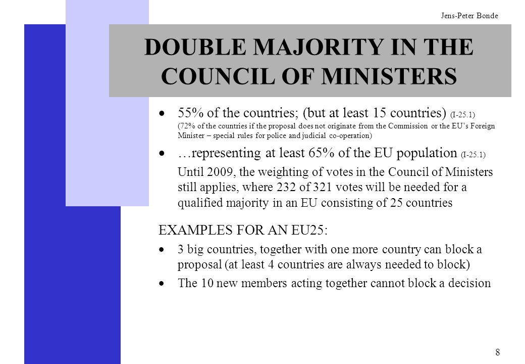 DOUBLE MAJORITY IN THE COUNCIL OF MINISTERS