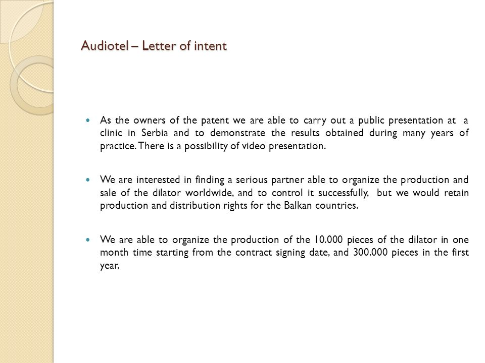 Audiotel – Letter of intent
