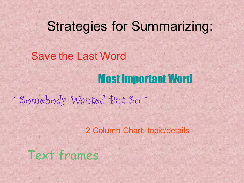 Strategies for Summarizing: