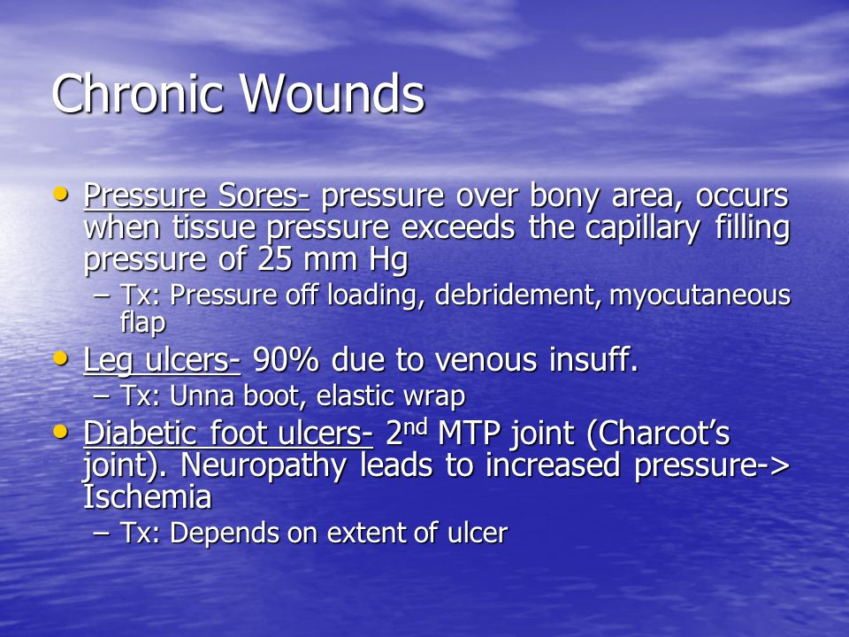 Chronic Wounds Pressure Sores- pressure over bony area, occurs when tissue pressure exceeds the capillary filling pressure of 25 mm Hg.