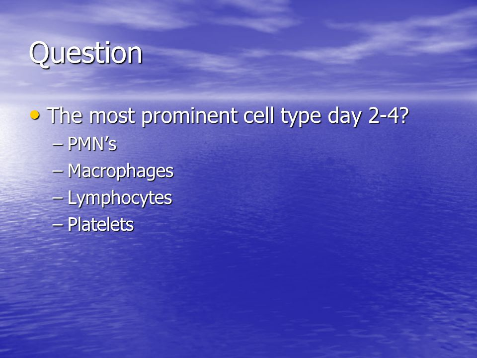 Question The most prominent cell type day 2-4 PMN's Macrophages